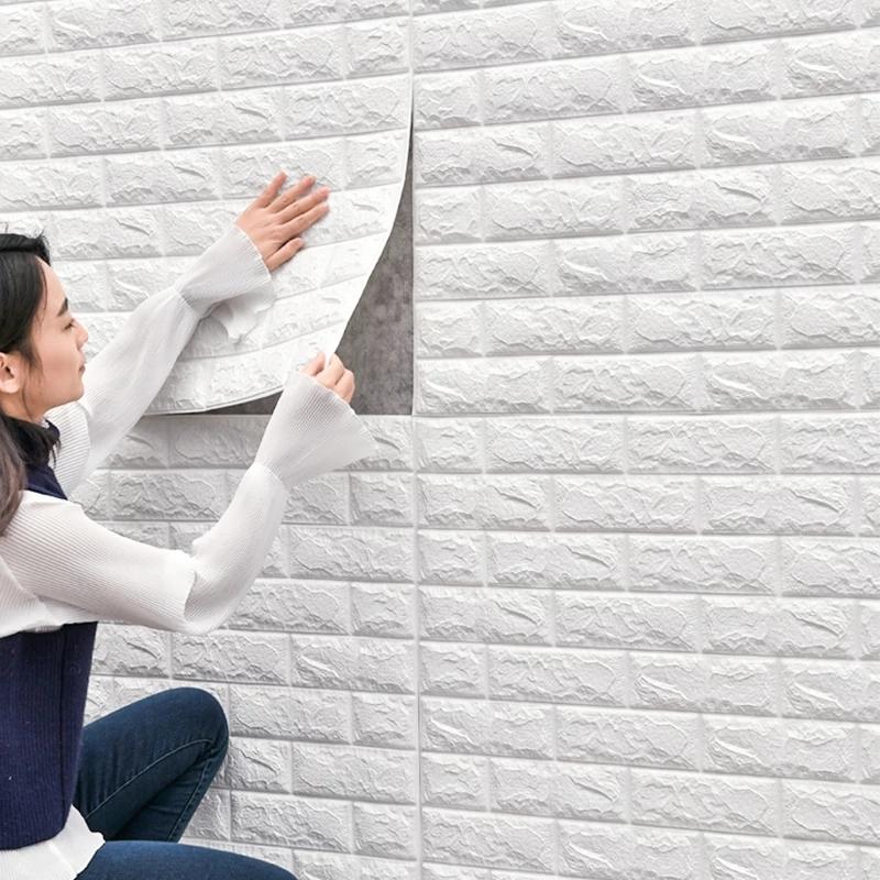 brique 3D en mousse 77sur 70 cm autocollant épaisseur moyenne cleure blanche