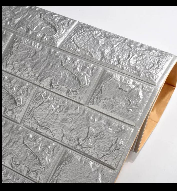 brique 3D en mousse 77sur 70 cm autocollant épaisseur moyenne cleure grise