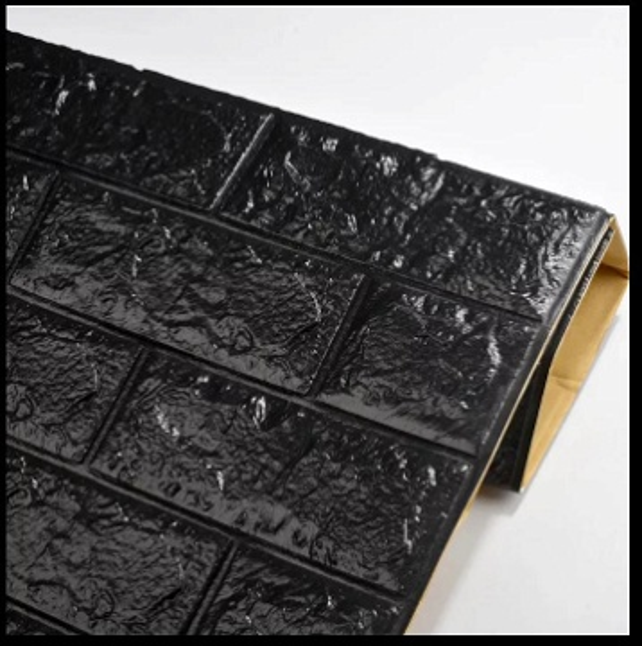 brique 3D en mousse 77sur 70 cm autocollant épaisseur moyenne cleure noir