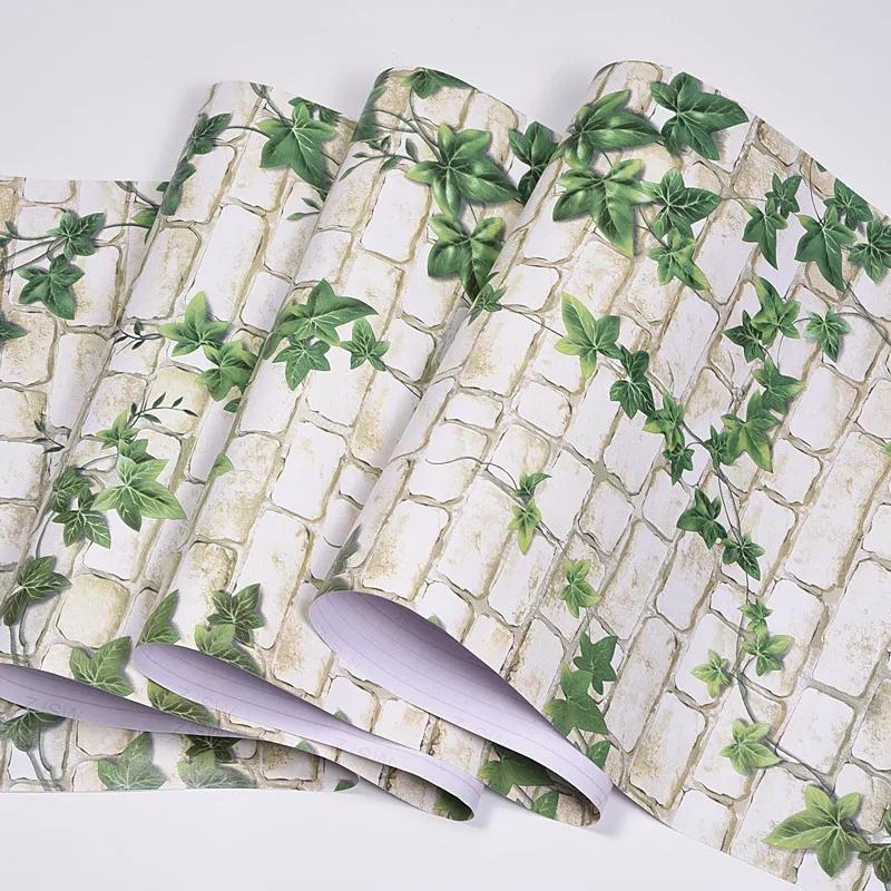 papier peint adhesif 15/ 10/ 5 metr sur 45 cm autocollant BRIQUE avec plante