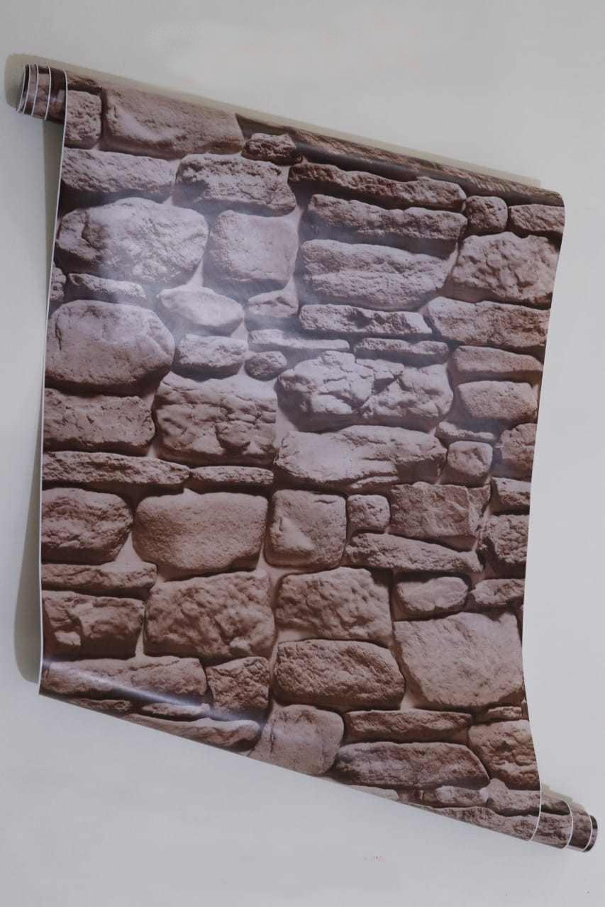 papier peint adhésif 3d brique pierres de rivieres