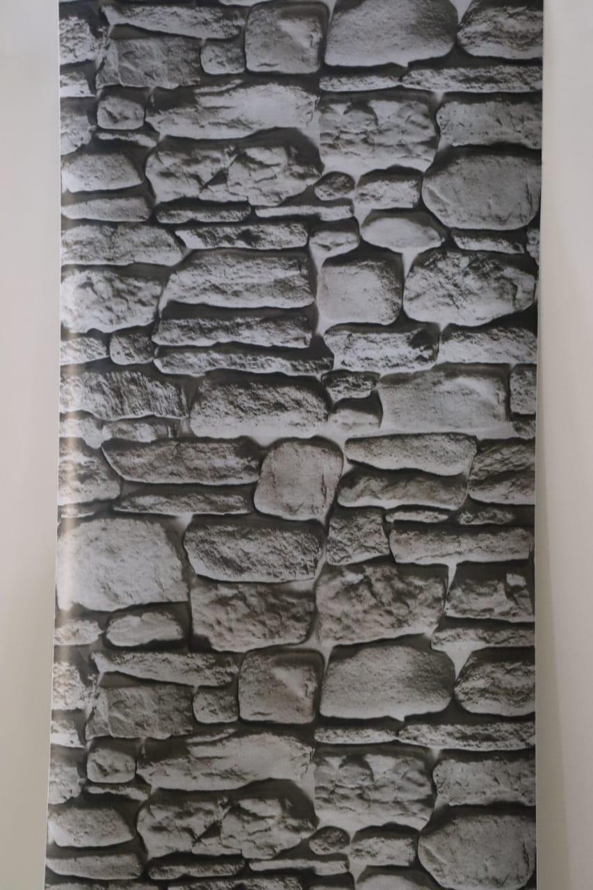 0619421241     papier peint adhésif pierre de riviere gris