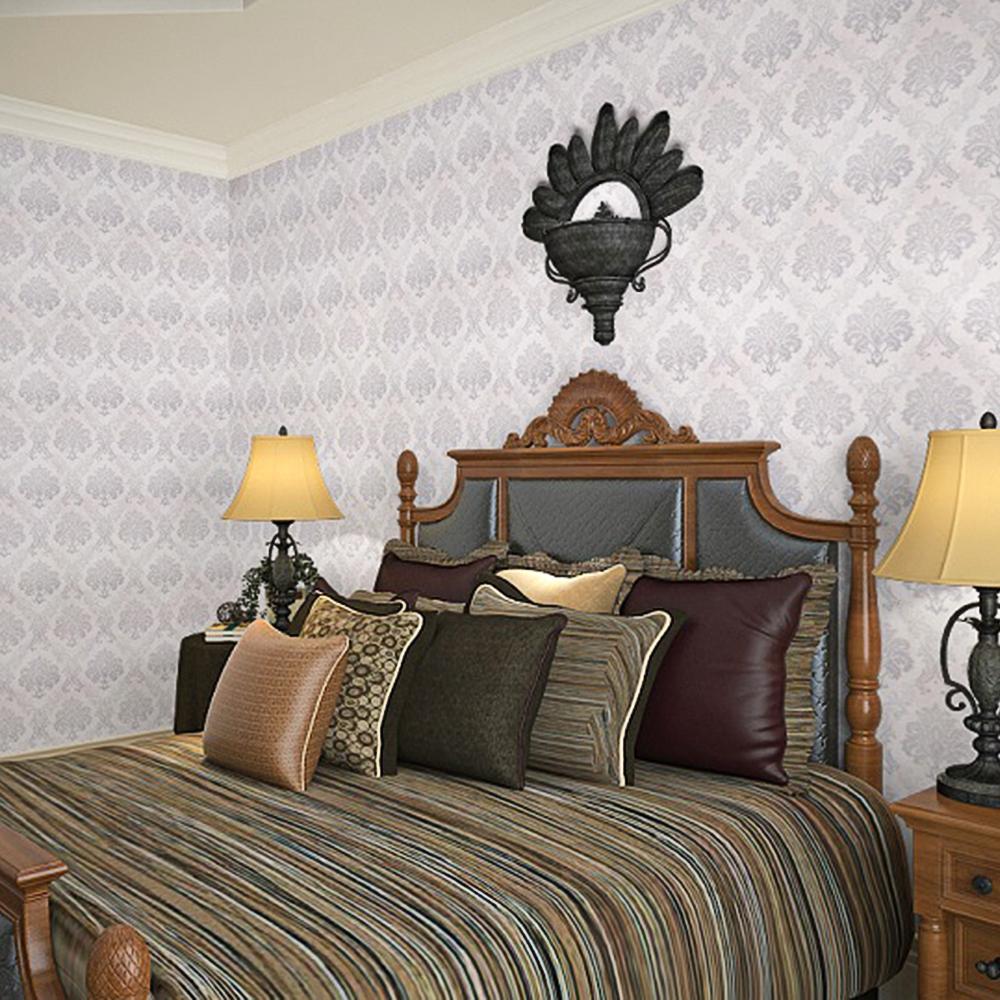 Papier peint adhesif pour salon et chambre a couchée couloir  fleur gris argentée