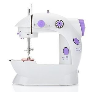 Mini Sewing Machine Double Speed Automatic Thread With Light-White