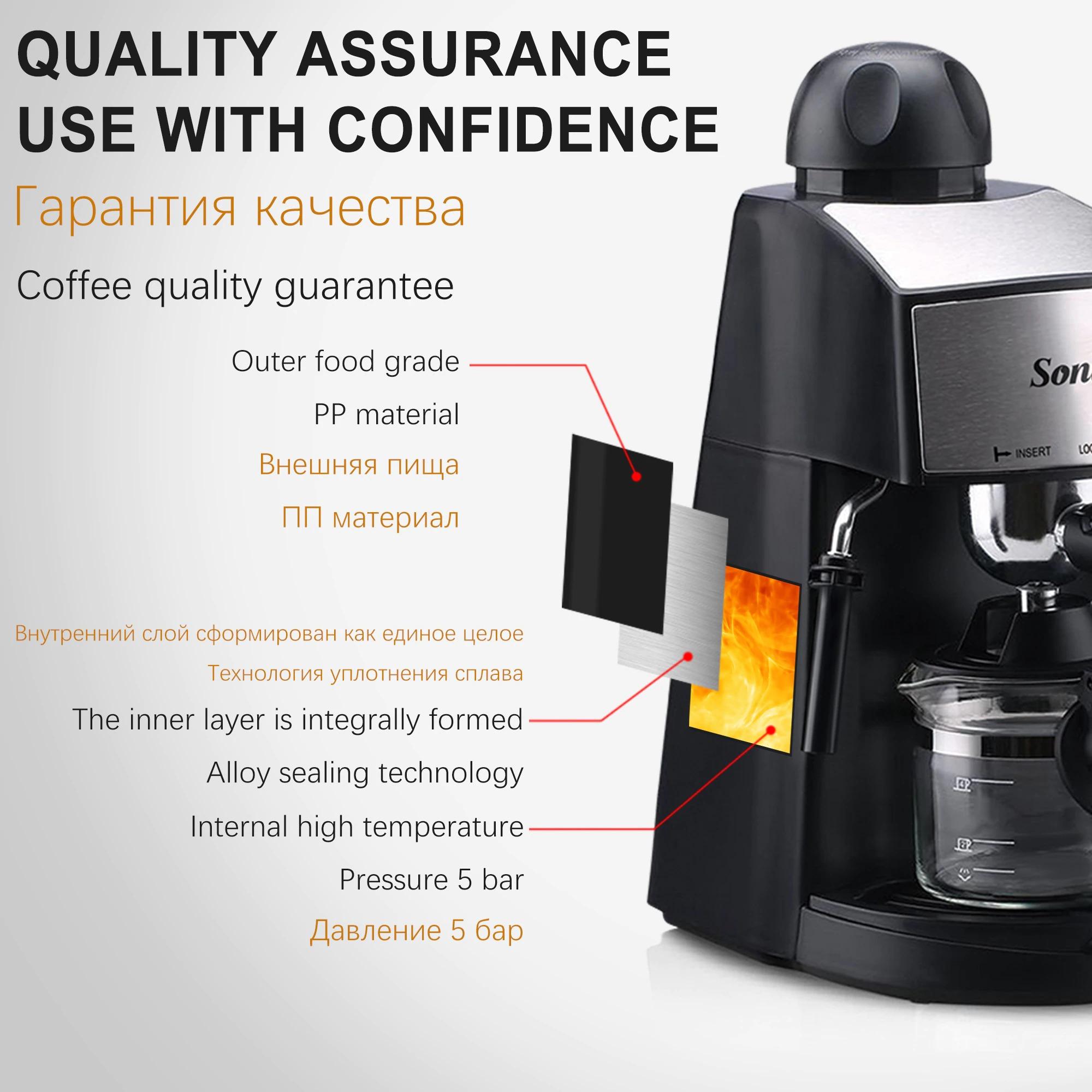 Sonifer Machine à café et Cappuccino de 4 tasse et 3,5 bar  ماكينة صنع القهوة وكابتشينو