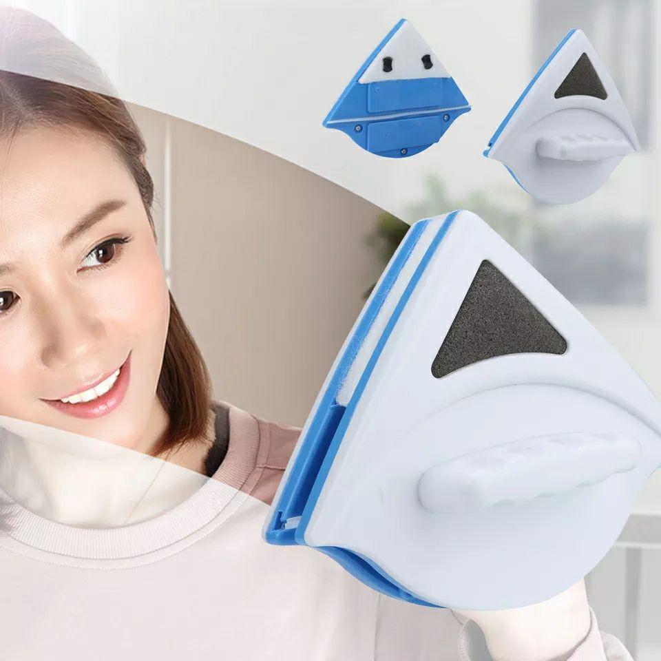 Nettoyeur de vitres magnétique double face, outil de nettoyage magnétique de surface d'essuie-glace ultra-puissant avec poignée ergonomique pour fenêtres vitrées