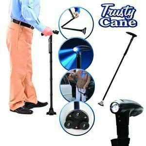 Trusty Cane Bâton de marche Ultra-léger Poignée Fiable magique pliable avec canne intégré à la lumière