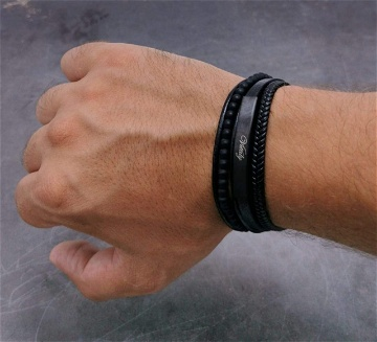 Bracelet cuir & acier - Vitaly