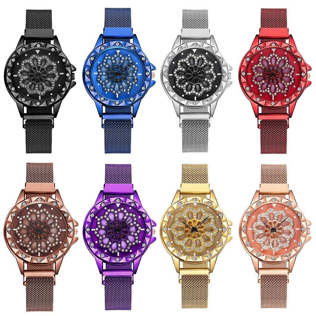 Montre diamant de luxe dames montre-bracelet maille femelle horloge