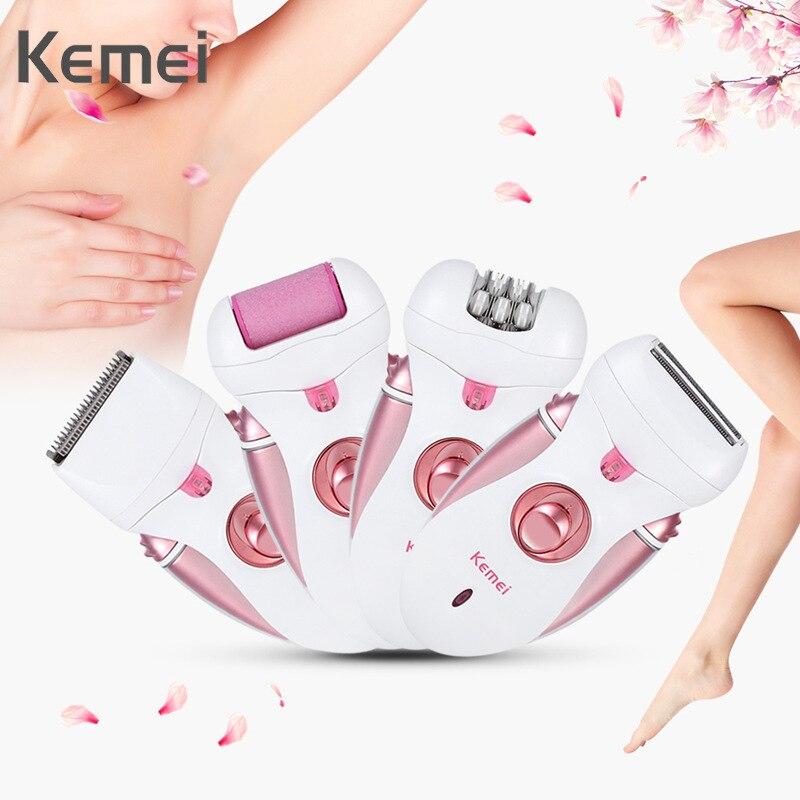 4 في 1 Kemei ماكينة إزالة الشعر من الوجه والجسم