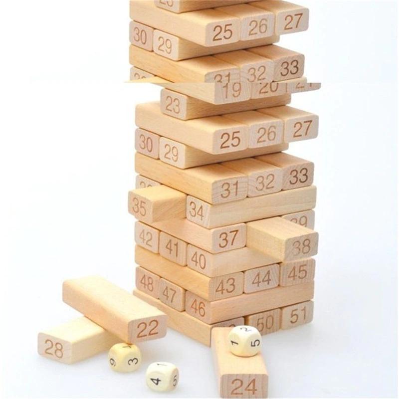 Tour en bois de pin, jouet, blocs de construction en bois, jouet Domino