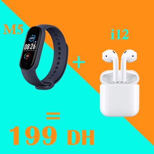 Pack M5 Smart Bracelet + i12 tws écouteur Bluetooth sans fil