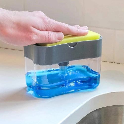 Distributeur de savon liquide de cuisine 2-en-1