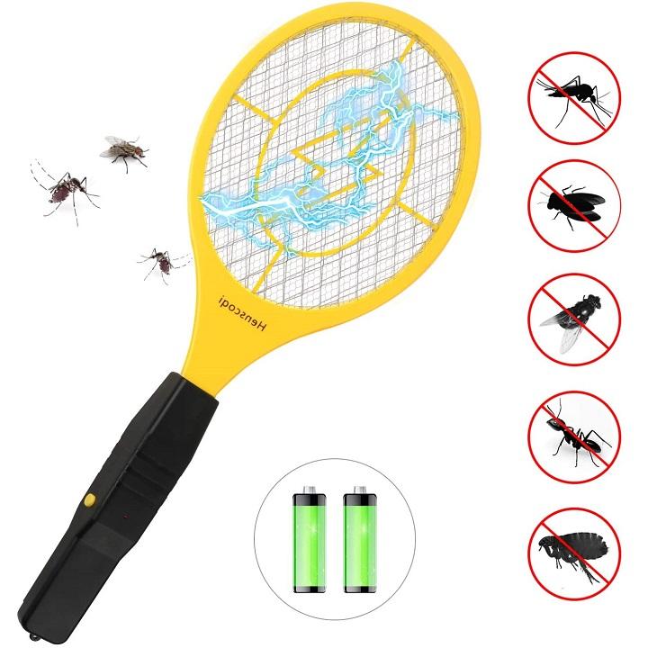 Raquette Anti Moustique Electrique avec AA Batterie, Raquette Electrique 4000 Voltavec pour Débarrasser des Moustiques et Autres Insectes, 3 Couches Protection en Maille,