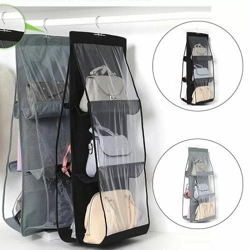 6 poches étagère sacs à main organisateur porte rangement placard cintre décor