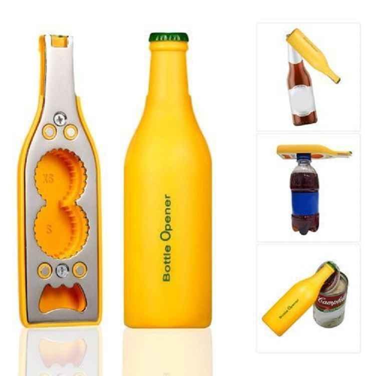 Ouvre-bouteille, ouvre boite multifonctionnel, tire-bouchon jaune