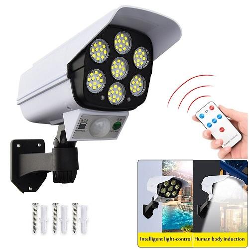 Lampe solaire avec télécommande Projecteur Eclairage public solaire à LED haute performance + détecteur de mouvement