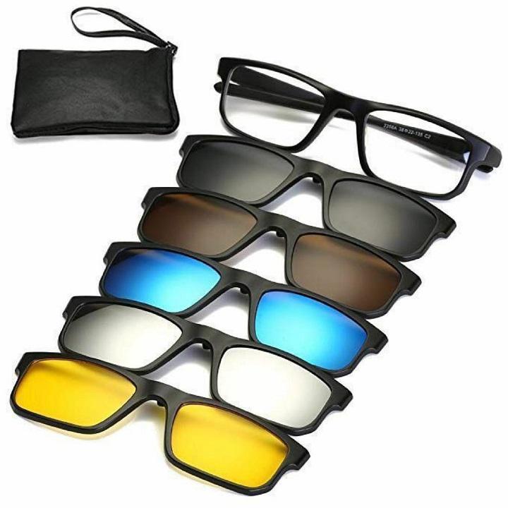 Magic Vision Lunettes a Clip magnétique 6 en 1 Polarisées ultra-léger pour Vue ou Soleil ou night vision