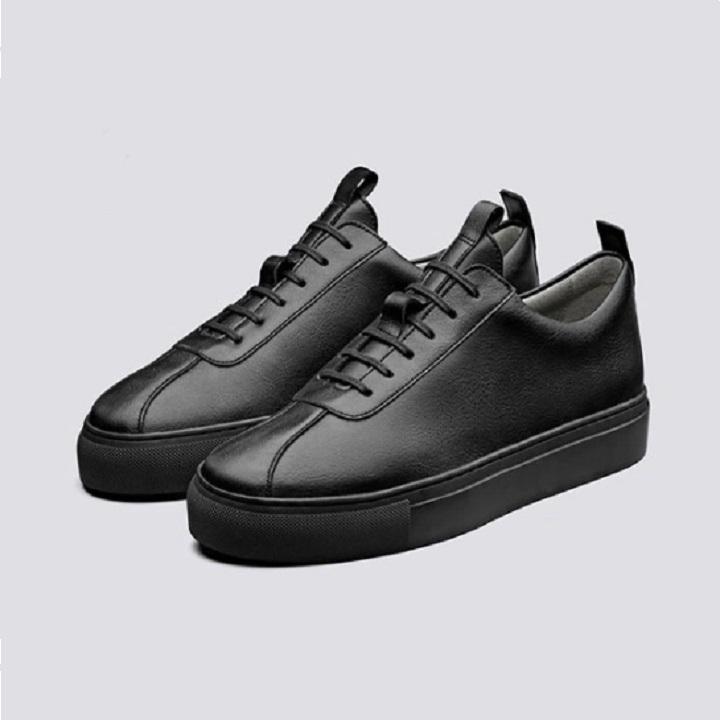 Baskets Noir En Cuir