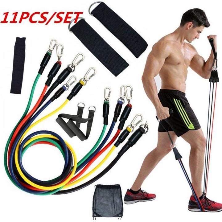 11pcs / Set Gym Bandes de résistance en Caoutchouc Latex Equipement de Fitness Latex Yoga Cordes de Traction Cordes Pratiques
