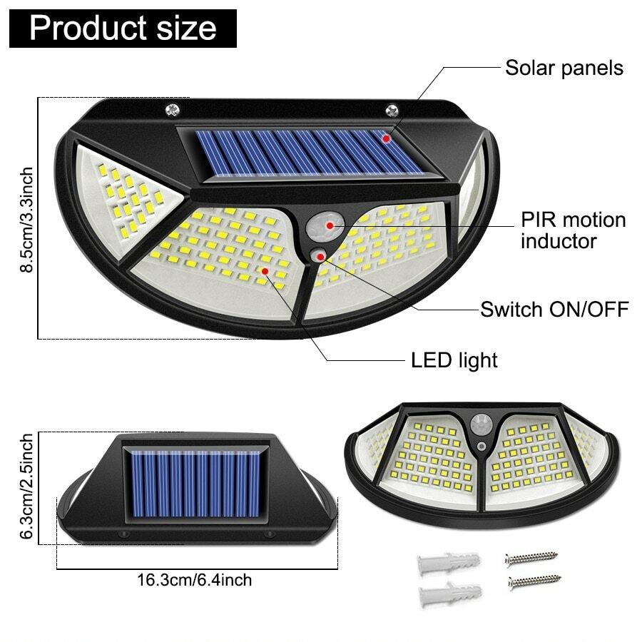 Lampe solaire avec détecteur de mouvement 3 modes, résistance de l'eau