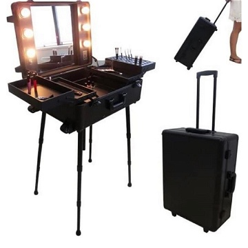 Valise studio make up trolley, Table de maquillage Ampoules