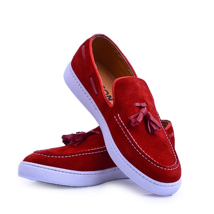 Nelson Chaussure Rouge En Daim NEL01D