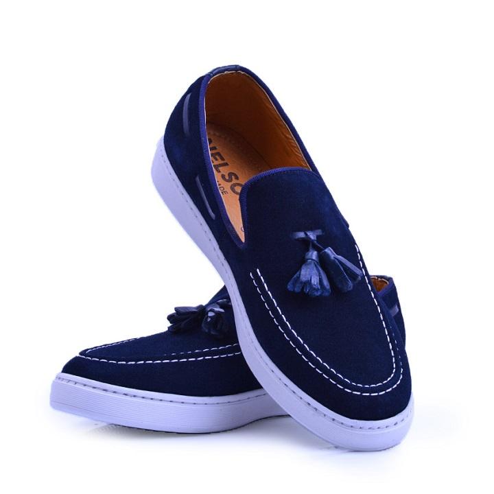 Nelson Chaussure Bleu En Daim NEL01D