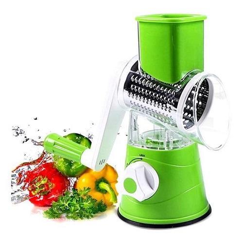 Trancheuse Rapide Légumes Manuelle, Multifonction Râpe Coupe-Légume Trancheuse avec 3 Rotary Lames en INOX,