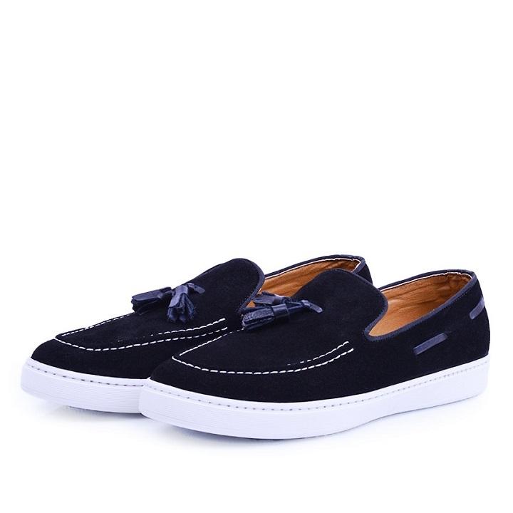 Nelson Chaussure Noire En Daim NEL01D