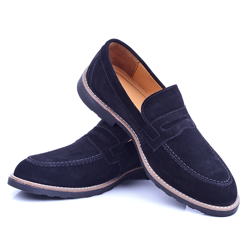 Chaussure Noire En Daim NEL220D
