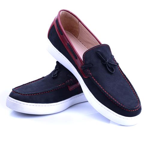 Chaussure Noire En Daim NEL125D