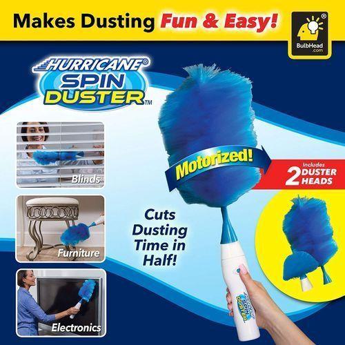 Brosse de nettoyage poussière - Hurricane Spin Duster 360 Plumeau électrique - Plume Réglable