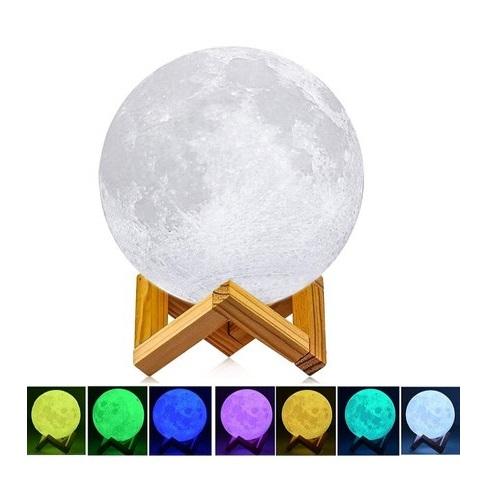 3D Moon Lamp Night Light Imprimé Lampe avec USB Rechargeable Tactile Luminosité