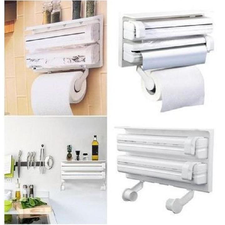 TRIPLE PAPER DISPENSER Support a serviette papier mural cuisine s'accrochent Film aluminium Triple rouleau distributeur