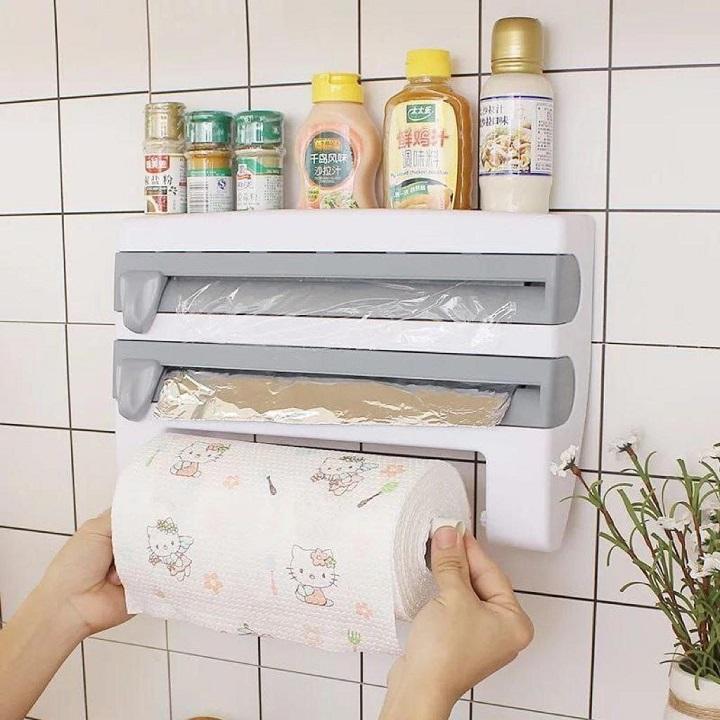 Support rouleaux de papier 3 en 1 aluminium, papier serviette, papier film