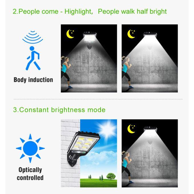 مصباح LED فائق سطوع مستشعر للحركة ومضاد للماء مزود بلوحة شمسية مع جهاز تحكم