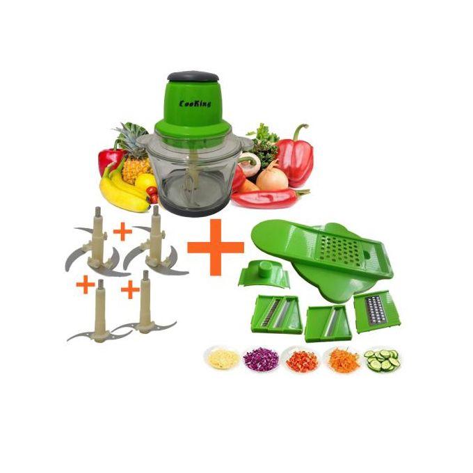 Pack de Hachoir Electrique En Verre avec 4 Lames et set Multi Mandoline Vegetable cooking
