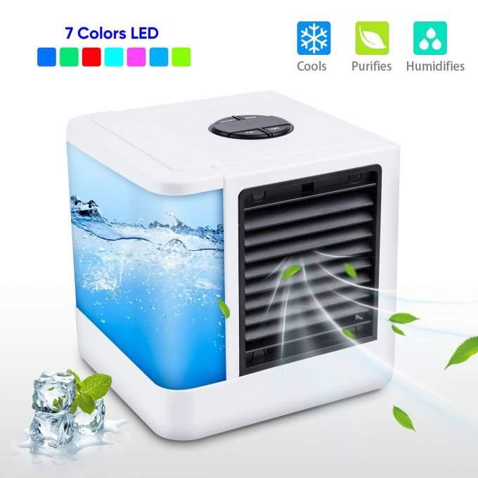 Mini climatiseur Portable USB 7 couleurs, Ventilateur de refroidissement de l'air