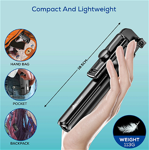 Nouveau support pour téléphone Bluetooth Selfie Stick 3 en 1 sans fil avec télécommande et lumière LED